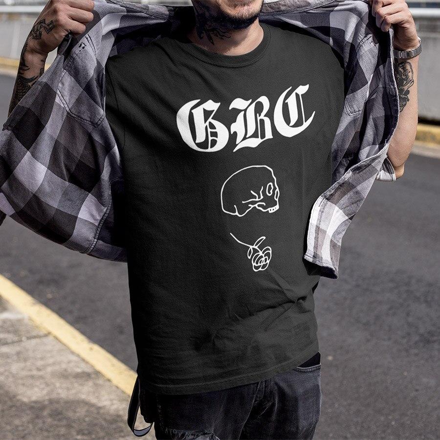Skull T Degli Uomini della camicia 100% di Estate del Cotone di Nuovo Modo di Disegno T-Shirt Hip Hop Punk Tshirt Formato di UE