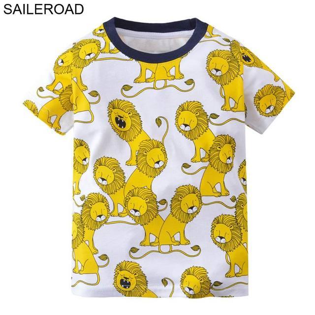 e58d7306e974 SAILEROAD 2-7Years Animal Lion Baby Kids Boys T Shirt Summer Children Boys  Girls Tops