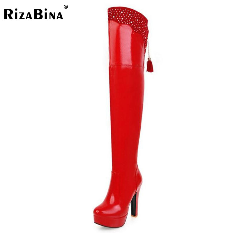 RizaBina Plus Size 32-48 Ladies High Heels Over Knee Long Boots Women Thick Platform Tassels Zip Shoes Women Winter Warm Botas brand new fashion black yellow women knee high cowboy motorcycle boots ladies shoes high heels a 16 zip plus big size 32 43 10
