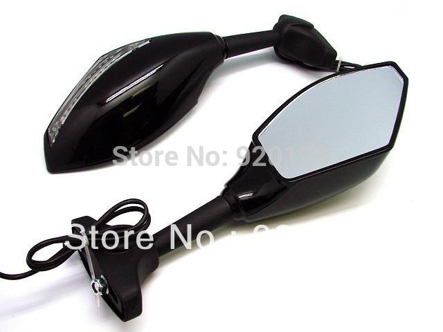 LED Turn Signal Integrated Mirrors for Kawasaki Ninja ZX-6R Yamaha R6 R1 FZ6 FZ1