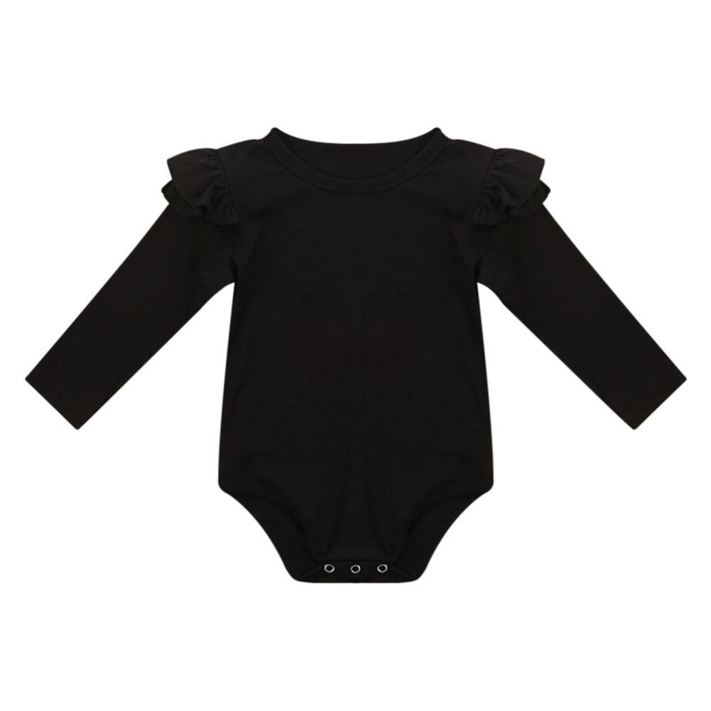 New Baby Girls Climing Cloths Children Kids Solid Color Flutter Sleeves Bodysuit for 3-18Months Toddler