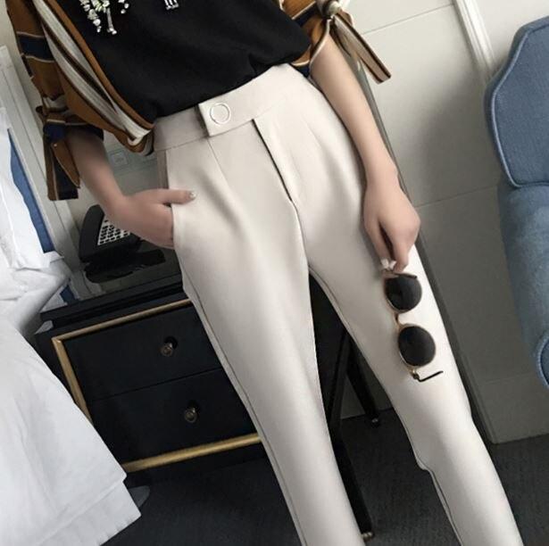 2018 Top Hot Sale Zipper Fly Flat Regular Pencil Pants Leather Pants Lulu Leggings Summer Casual Female Korean Ol Thin Pencil