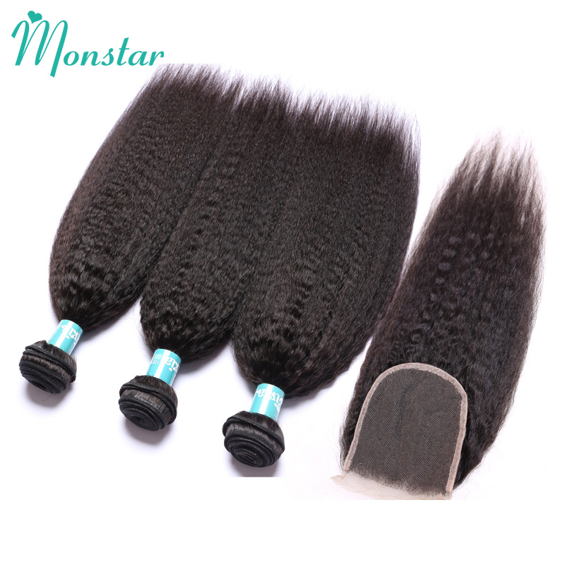 Monstar Peruvian Kinky Straight Hair with Closure Unprocessed Virgin Human Hair Bundles with Free/Middle Part Lace Closure 4x4