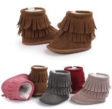Новые зимние сапоги 2 Слои Ленточки детские мокасины новорожденных искусственная замша первые ходоки теплая хлопковая обувь 8 цветов