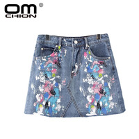 OMCHION Fashion Women Splash Ink Multicolour Jeans Skirt 2017 New Summer Mini Skirt Brand Style Casual