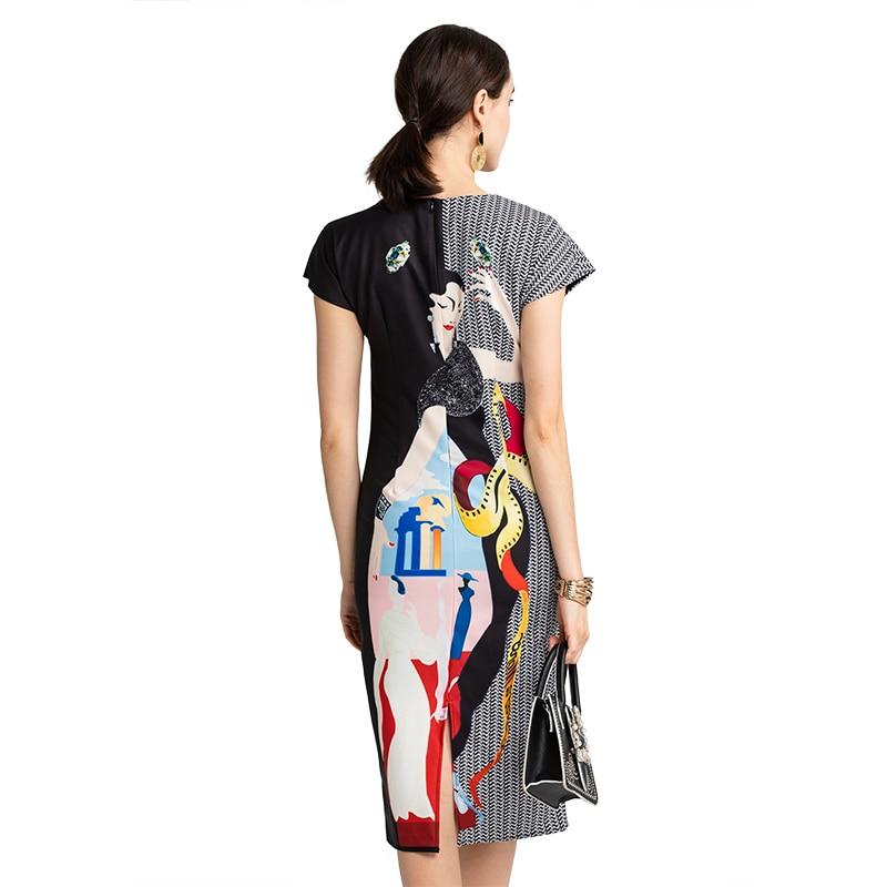 Moda pasarela mujer verano elegante vestido precioso cuentas Vintage personaje impreso Oficina señora Bodycon Vestidos femeninos Vestidos-in Vestidos from Ropa de mujer    3