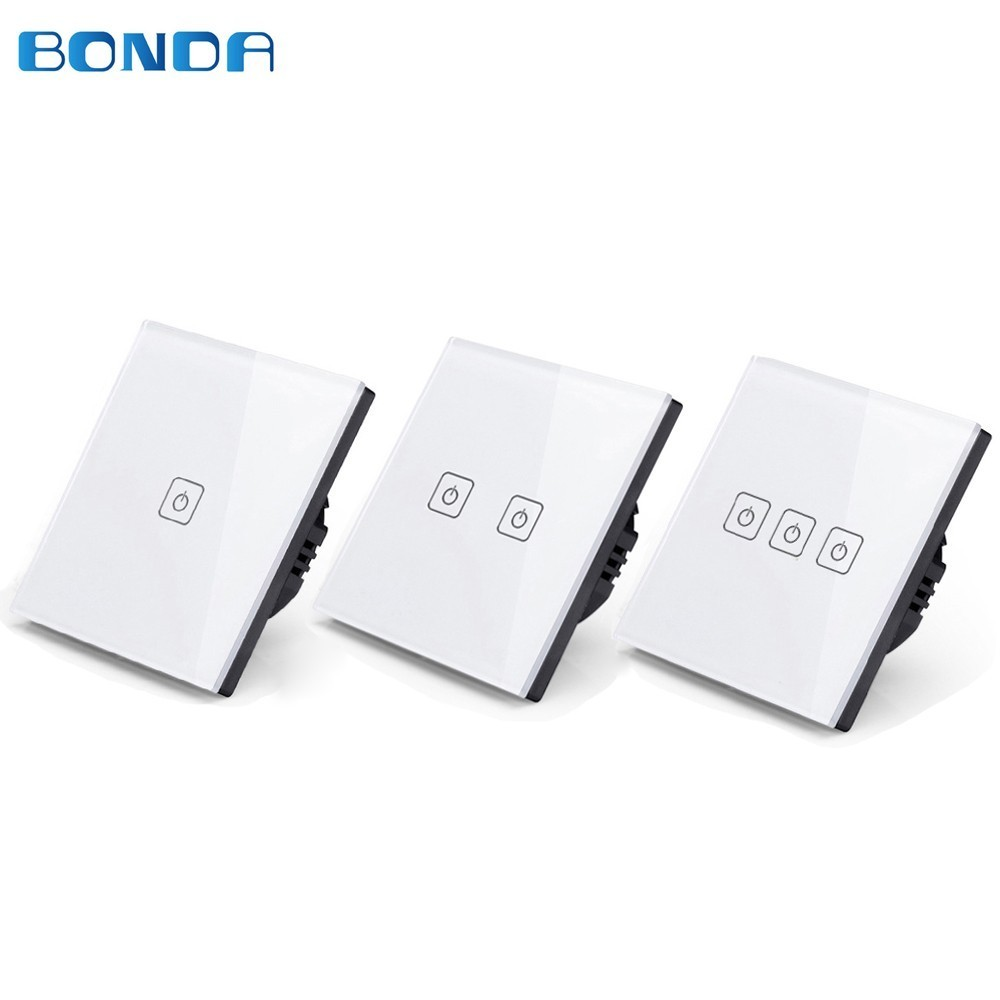 EU/UK Standard BDNOA 1/2/3 Gang Wireless Remote Control Light Switches, Smart Home RF433 Remote Control Wall Touch Switch makegood eu uk standard 1 gang 1 way rf433 remote control touch switch wireless remote control light switches for smart home
