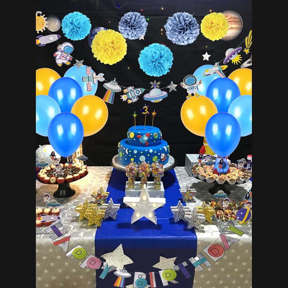 Universe Solar System Star Party Decoration  Galaxy Outer Space Theme Kids Birthday Supplies Planet Decor