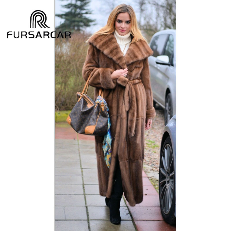 FURSARCAR 2018 New Arrival Luxury Natural Mink Fur Coat Women With Big Fur Hood Genuine Mink Fur Female Coat in Real Fur from Women 39 s Clothing