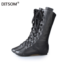 цена на PU Leather High Boots for Girls Boys Women Lace Up Soft Jazz Dancing Ballet Dance Yoga Fitness Wear Soft Sneakers 31-45