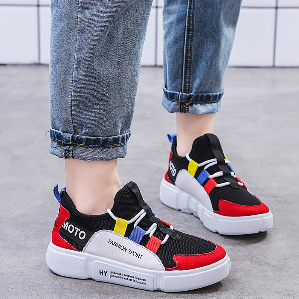 Fashion Women Shoes Casual Lace Up Comfortable Soles Platform Sports shoes Breathable 2019 New Running Sneakers#45Fashion Women Shoes Casual Lace Up Comfortable Soles Platform Sports shoes Breathable 2019 New Running Sneakers#45