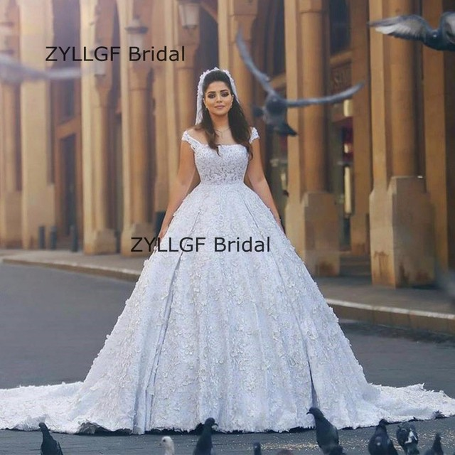 925a37d8fca ZYLLGF Bridal Puffy Robe De Mariee Sur Mesure Middle East Bridal Dresses  Lace Wedding Gown Lebanon With Train RM84