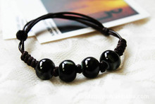 Original vintage Ceramics Black beads Girls Bracelet Good Lucky cute Lover Lovers Jewelry Women Gift