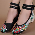summer Peony Women Shoes Old Peking Mary Jane Flat Heel Denim Flats with Soft Sole Women Dance Casual Shoes Large size EUR 34-41