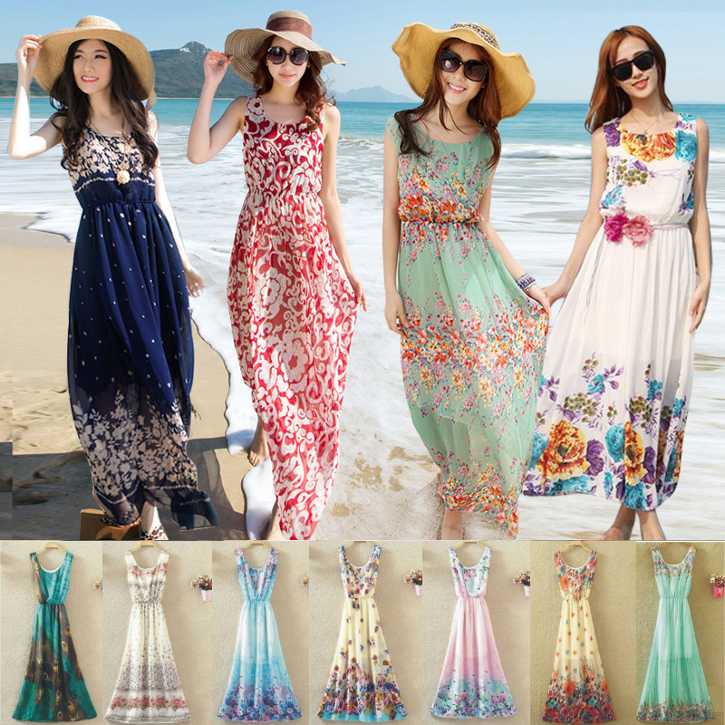 e12054e6a3 Detail Feedback Questions about Summer Dresses Boho Style Long Dress  Chiffon Women Vacation Beach Floral Print Tops Clothes Fashion Bohemian Maxi  Dress ...