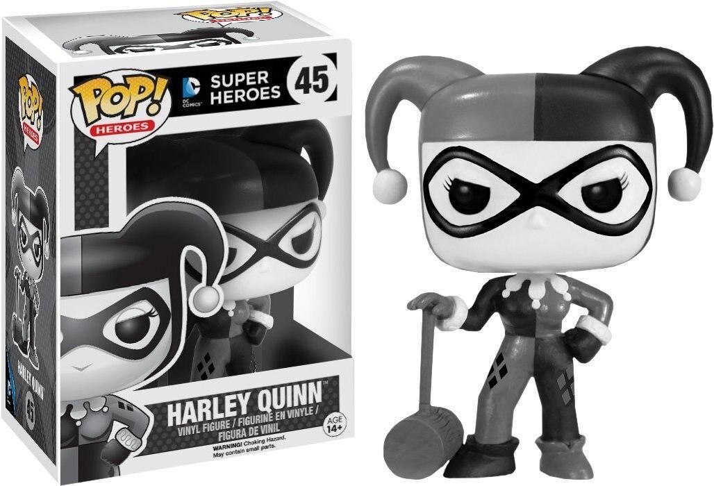 Bande dessinée officielle Exclusive Funko pop DC: figurine en vinyle noir et blanc Harley Quinn jouet de collection avec boîte d'origine