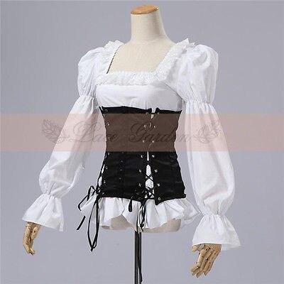 Lolita Gothic Barbie Palace Retro Punk Corset Black and White Shirt Blouse Anime Cosplay Costume Free Shipping
