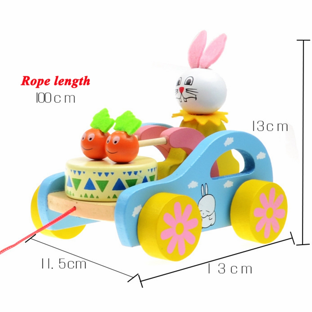 Creative Baby Toys Wooden Early Education Children White Rabbit Trailer Toy Baby Beat Drum Cart Trailer Round Gift Learn To Walk