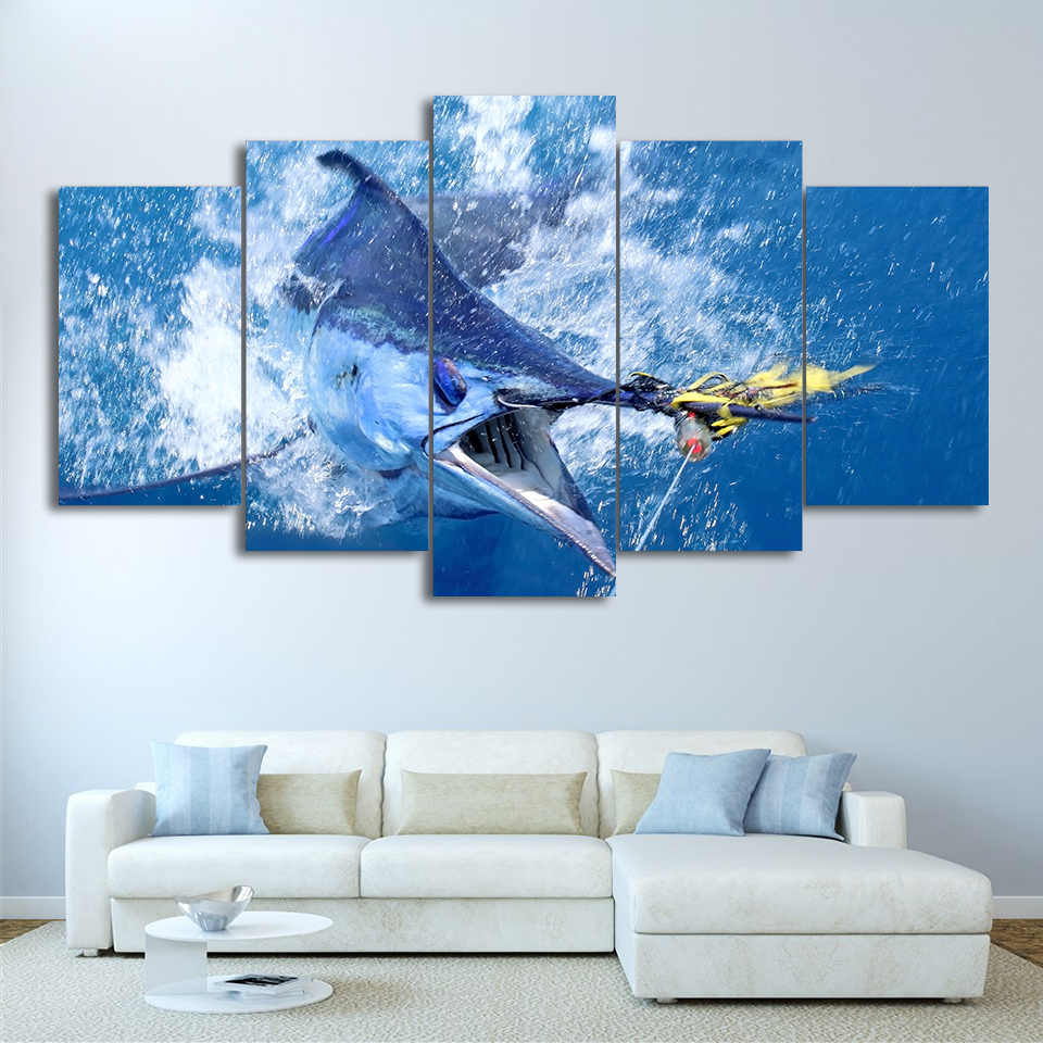 Canvas Pictures Wall Art HD Print Framework 5 Pieces Jumping Marlin Tuna Fish Painting Sailfish Fishing Poster Living Room Decor