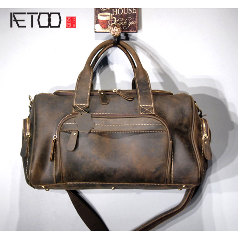 AETOO Trend retro, portable travel bag , crazy horse leather, single shoulder oblique shouldered men's bag fashion men s single shoulder bag leisure portable oblique satchel tide restoring ancient ways crazy horse leather laptop pu