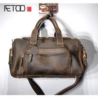 AETOO Trend retro, portable travel bag , crazy horse leather, single shoulder oblique shouldered men's bag