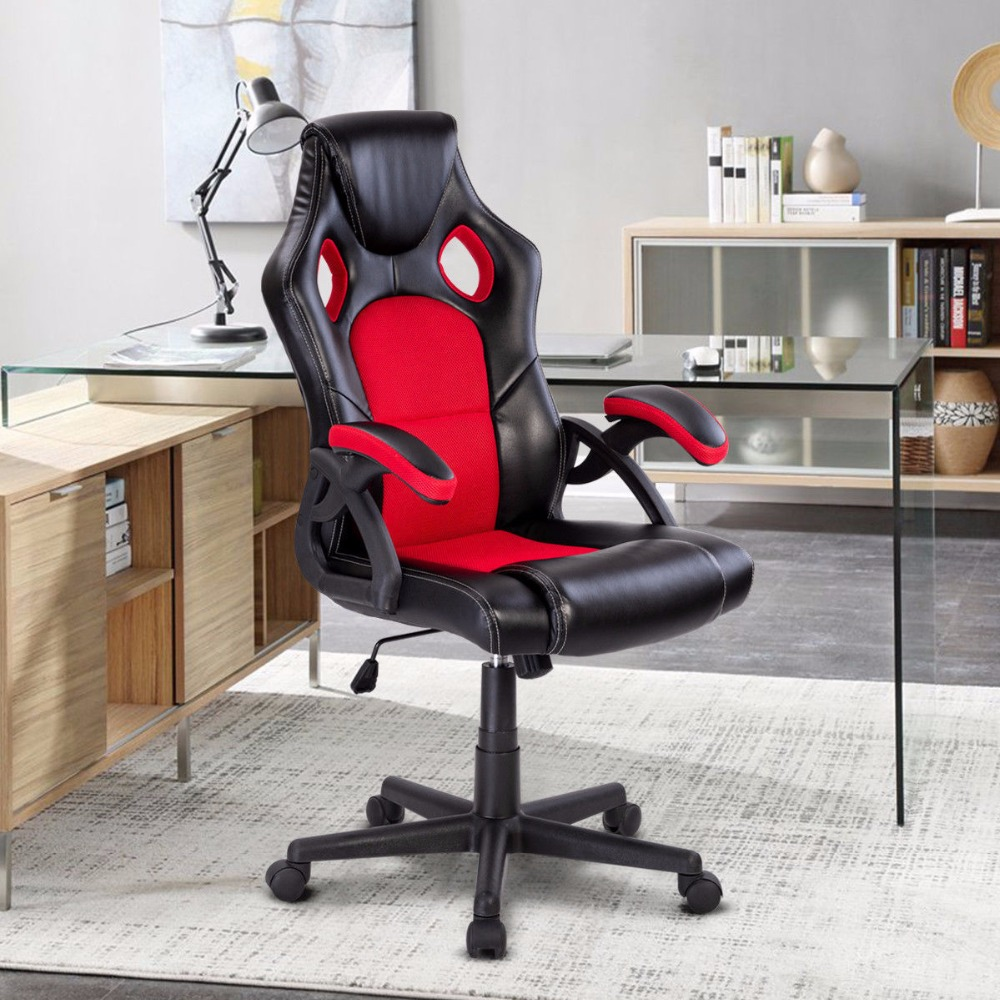 Giantex PU Leather Executive Bucket Seat Racing Style Office Chair Computer Desk Task Commercial Furniture HW57402 giantex pu leather high back racing style bucket seat gaming chair with head pillow modern office desk computer chairs hw52433
