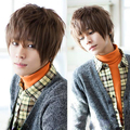 Men Korea Design Sexy Fashion Stylish Man Short Straight Hair Light Brown Full Wig HB88