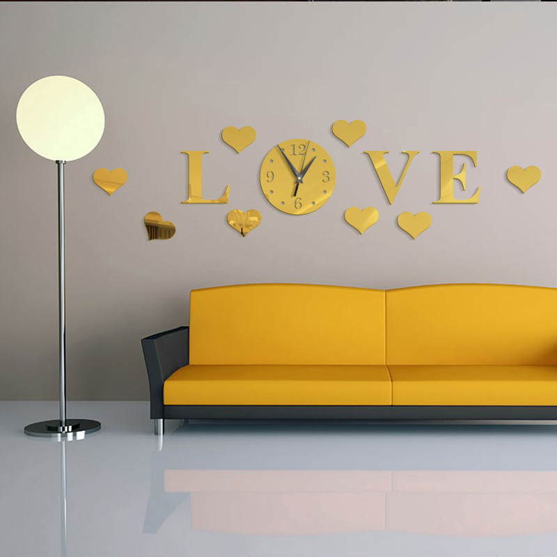 Bricolage personnalité créative amour fond miroir Stickers muraux horloge murale balayage horloge cristal Stickers muraux