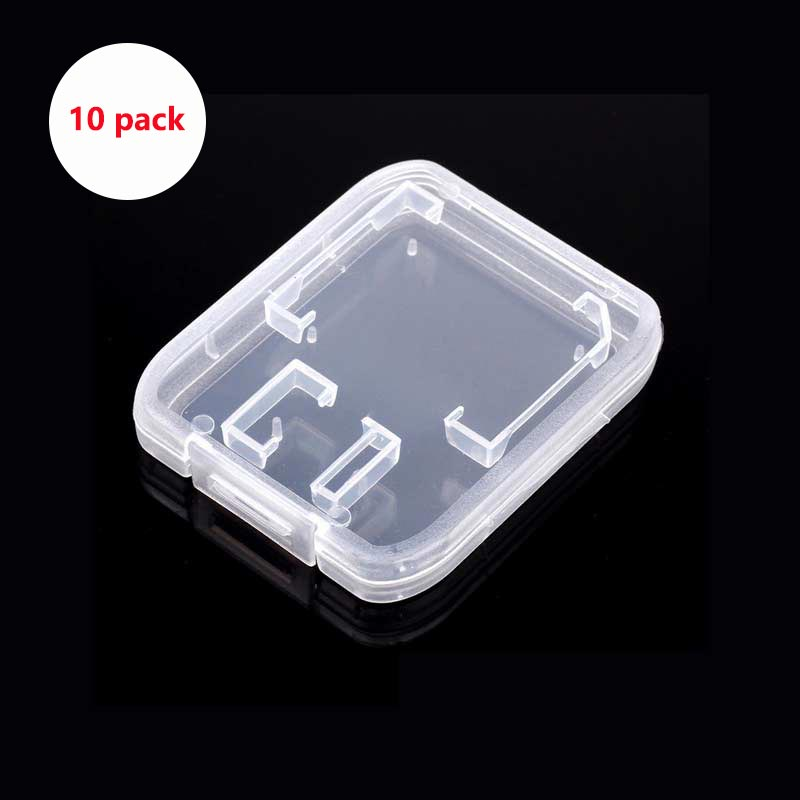 10pcs Sd Card Case Transparent Standard SD SDHC Microsd Case Box TF Protector Holder White Box Carry Storage Wholesale SD Case