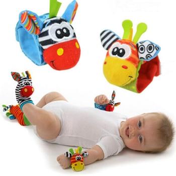 1 Pc Infant newborn Baby Soft Rattles Wrist Handbell Foot Finders Socks animals cotton giraffe hand ring a bell Developmental 1