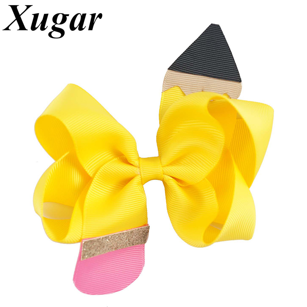 Back To School Sweet Children Girl Hair Clip Handmade Solid Ribbon Pencil Hair Bow For Students Cute Hair Accessories(China)