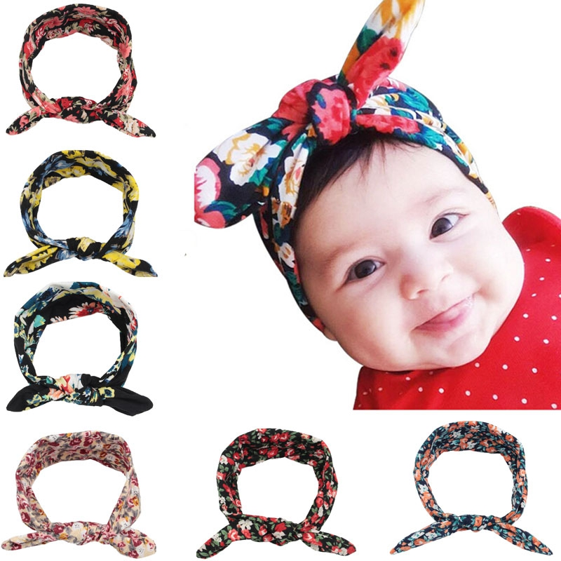 Yunfly 3pcs New Knotted Bow Headband Baby Girl Flower Infant Turban Cotton Jersey Blend Knit