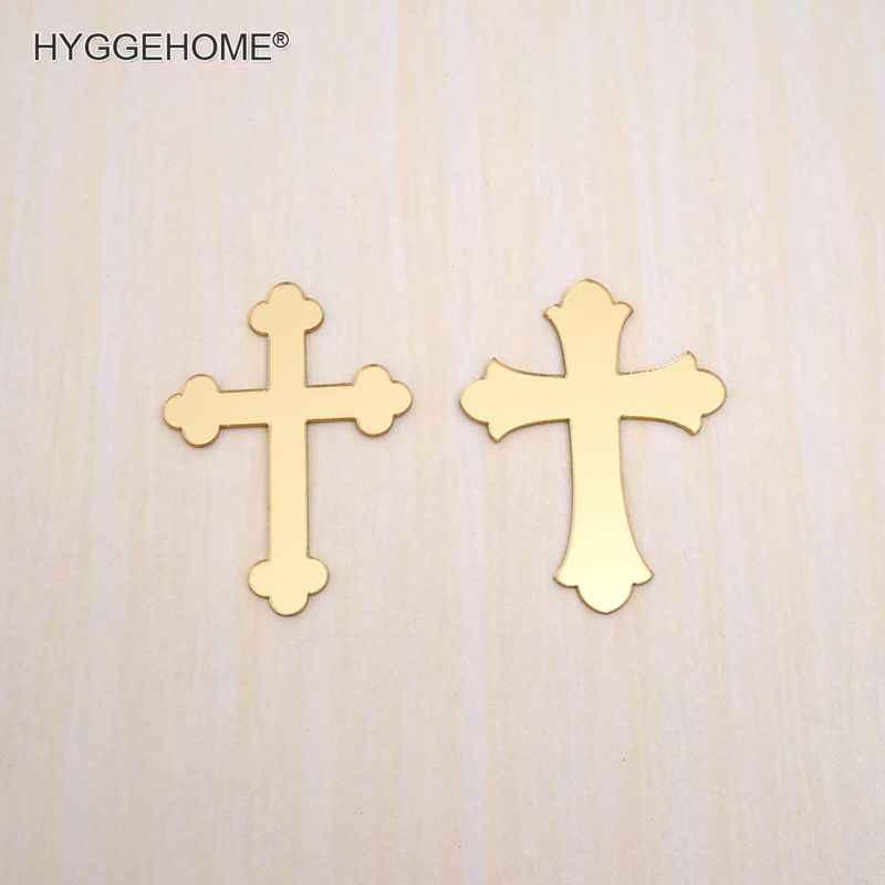 30 шт. 3 см Высокое Зеркало, вырезанное лазером кресты вечерние сувениры молитва персонализированные крестообразной формы акриловая наклейка свадебное крещение, рождение декора