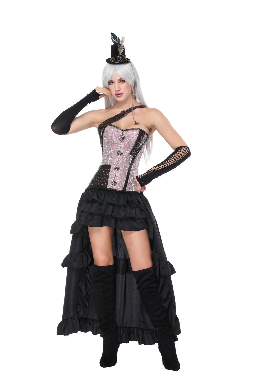 Black Corset dress Waist Trainer Gothic Steampunk One Shoulder Strap Corselet Corsets Metal Buckles Floral Bustier Tops