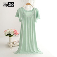 2017 Summer Bamboo Fiber Nightgowns Women Spft Simple Pure Color Long Nightdress Short Sleeve Casual Sleepwear