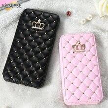 Kisscase Рейн S тон ювелирное блеск Флип ca s e s для iPhone 6 6S 7 7 plu s ca S E милый розовый слот для карты Kick S tand для iPhone 7 ca s e