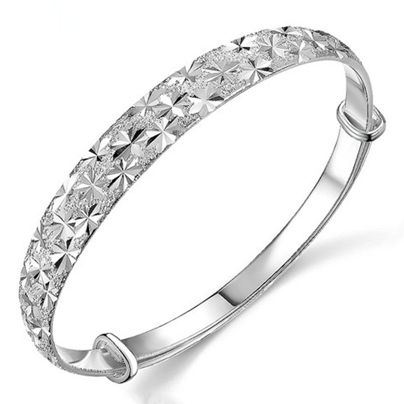 100% 925 Sterling Silver Fashion Full Star Ladies Bangles Jewelry Women No Fade Wholesale Bangle Cheap Birthday Gift