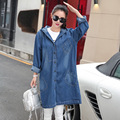 Large Size S-2XL,3XL,4XL New Loose Spring Autumn Coat Plus Size Trench Womens Long Denim Trench Coat Women Outerwear Hooded