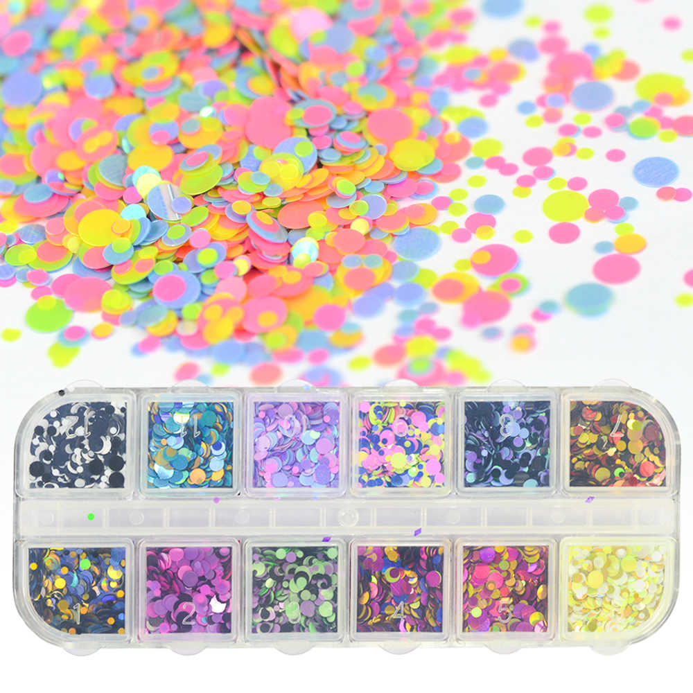 1 Case Mini Round Nail Glitter Sequins Paillette Flakes Set Mixed Size Colorful Nail Art Decorations Shape Tip Manicure SAP