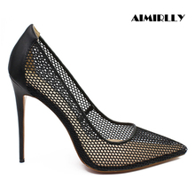 Aimirlly Women Shoes Pointed Toe High Heels Pumps Fabric Air Mesh Summer Party Wedding Sexy Thin Black Gold
