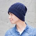 New Fashion! Men's winter hat fashion knit ski cap Women's hats fleece thick winter headgear linen striped wool hat