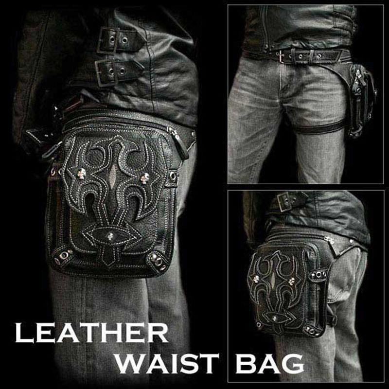 Hommes rétro cuir taille Fanny jambe sac moto cavalier Punk Rock Messenger Pack