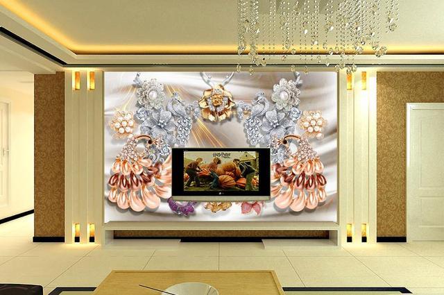 Tapete 3d custom Pfau perlen tv hintergrund tapete vlies tapete für ...
