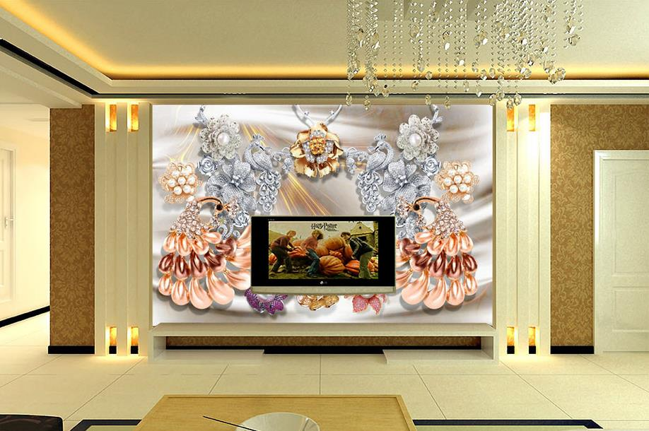 wallpaper 3d customize 3d wall murals Peacock pearls wall papers home decor wallpapers for living room wallpaper brick wall