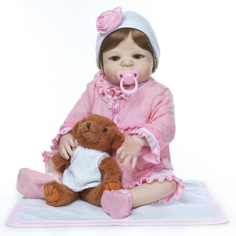 NPK 56 cm lebensechte reborn baby puppe volle vinyl silikon weiche echt sanfte touch puppe playmate für kinder Geburtstag geschenk-in Puppen aus Spielzeug und Hobbys bei  Gruppe 3