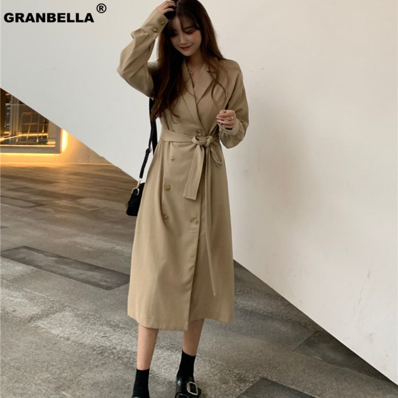 2019 Spring New Korean Double Button Shoulder Sleeve Medium Length Wind Female Windbreaker Women   Trench   Thin Cloak