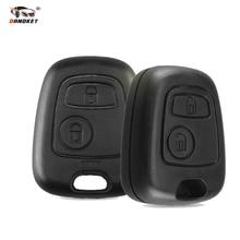 Dandkey 2 кнопки без лезвия чехол для дистанционного ключа от машины оболочка Fob для Citroen C1 C2 C3 Pluriel C4 C5 C8 Xsara Picasso крышка с логотипом