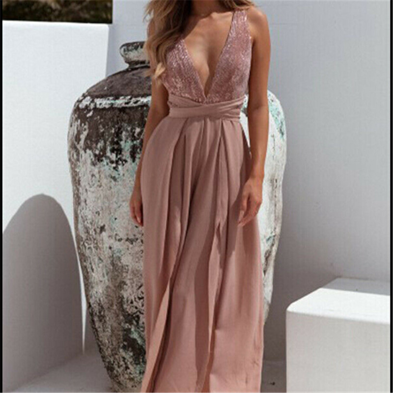 Trendy Women clothes Summer Sexy V-Neck Sleeveless Jumpsuit Loose Chiffon backless Wide Leg Rompers one pieces