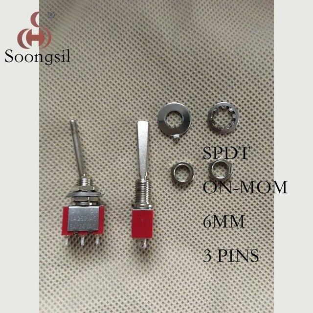 Livraison gratuite 5 PC/Lot nouveau rouge 3 broches (ON)-maman retour automatiquement CQC argent Point Long plat poignée interrupteur à bascule 6A125V