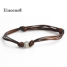 YNB brown cord men s bracelet with silver charm font b personalised b font monogram bracelet